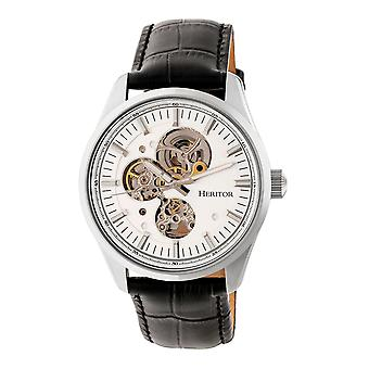 Heritor Automatic Stanley Semi-Skeleton Leather-Band Watch - Silver