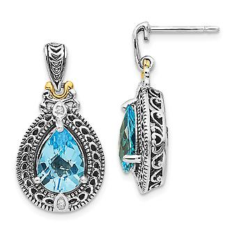 925 Sterling Silver Polished Prong set Post Earrings finish With 14k Diamond and Blue Topaz Earrings Jewelry Gifts for W
