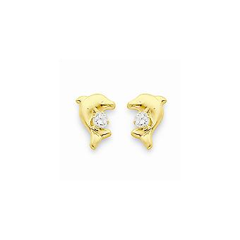 14k Yellow Gold Polished Dolphin With Cubic Zirconia Post Earrings