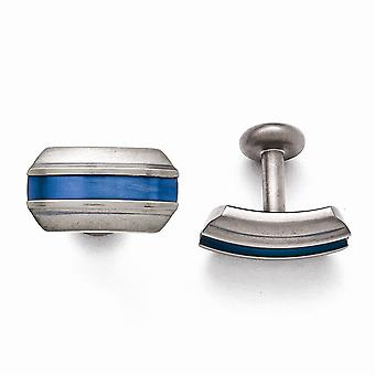 Titán szürke ti csiszolt kék eloxált csíkos mandzsetta linkek ékszerek ajándékok férfiaknak