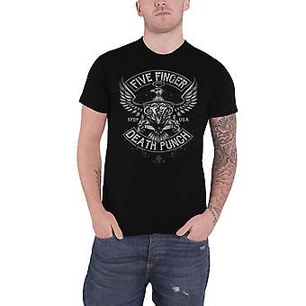 Five Finger Death Punch T Shirt Howe Eagle Crest Logo new Official Mens Black