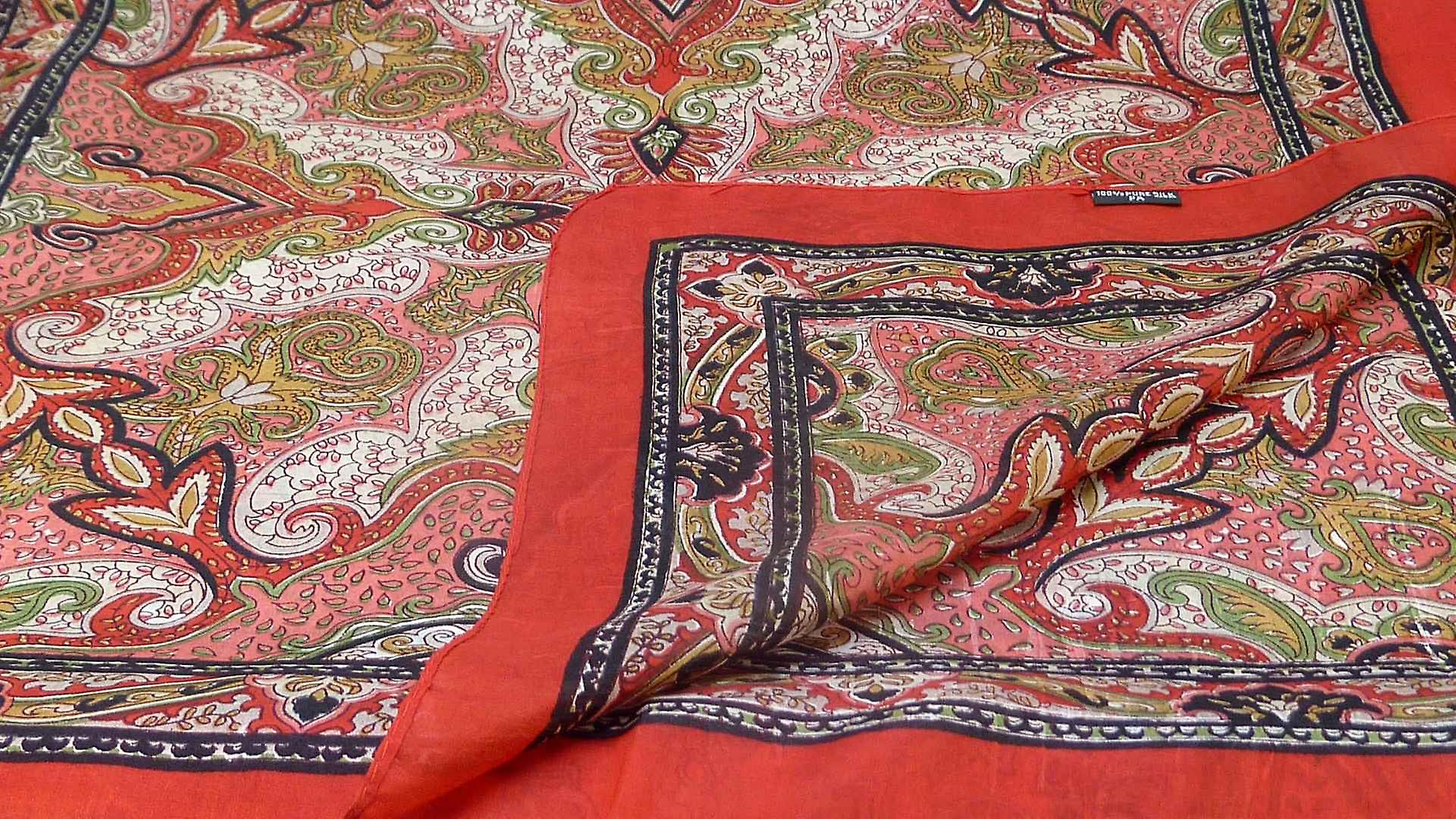 Mulberry Silk Traditional Long Scarf Himesh Scarlet by Pashmina & Silk