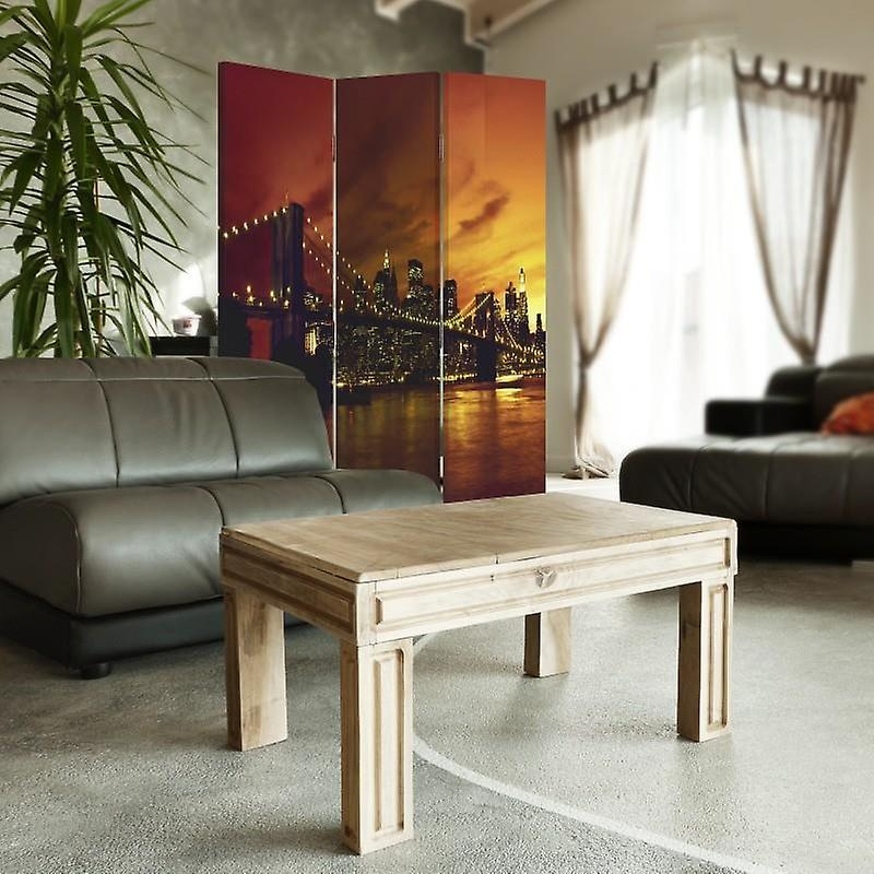 Room Divider, 3 Panneaux, Single-Sided, Canvas, Brooklyn Bridge And Manhattan At Sunset