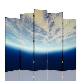 Dekorativ rumsavdelare, 5 paneler, dubbelsidig, 360 ° vridbar canvas, dynamisk himmel