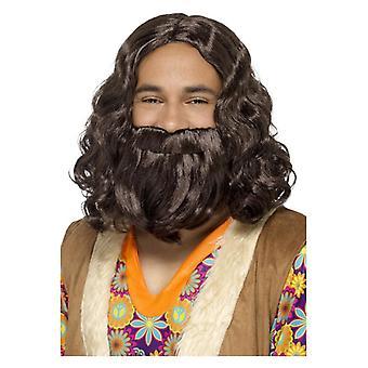 Hippie/Jesus Wig & Beard Set, Brown Fancy Dress Accessory