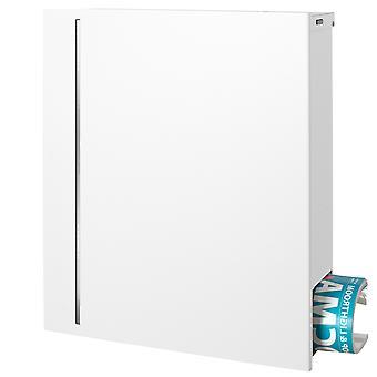 MOCAVI boîte 144R puriste letterbox avec journal caché commerce signal blanc (RAL 9003) avec design en acier inoxydable