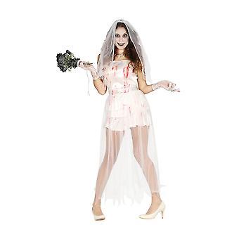 Womens Halloween Ghost bruid fancy dress kostuum