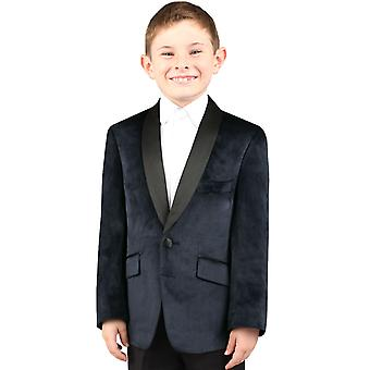 Dobell Boys Navy Jacket Regular Fit Velvet Contrast Shawl Lapel