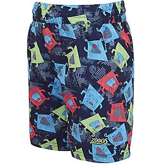 Zoggs Boys Boxer Dog Swimming Pool Watershorts Swimwear Swim Shorts - Navy/Multi