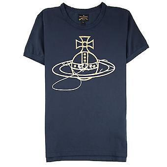 Vivienne Westwood Anglomania Gold Foil Jeans Orb T-shirt Marine