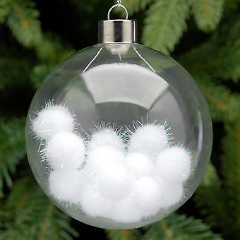 8cm Clear Glass  White Tinsel Pom Poms Filled Christmas Tree Bauble