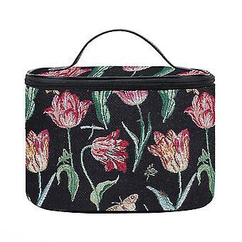 Marrel's tulip black makeup bag by signare tapestry / toil-jmtbk