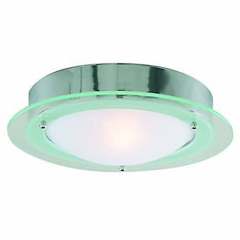 1 Light Bathroom Flush Ceiling Light Round Chrome Ip44