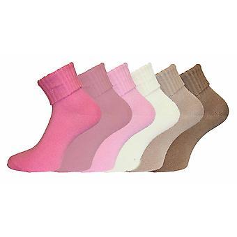 Ladies Turn Over Top Warm Acrylic Short Fashion Socks 6 pack Size 4-8 Range 1