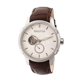 Heritor Automatic Callisto Semi-Skeleton Leather-Band Watch - Silver