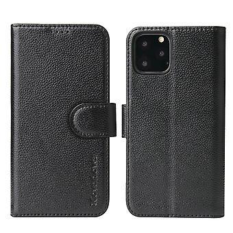 Pour iPhone 11 Pro Max Case iCoverLover Black Genuine Cow Leather Wallet Case
