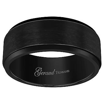 Titanium Black Mens Brushed Ridged Edge Comfort Fit Wedding Band 8mm Jewelry Gifts for Men - Ring Size: 8 to 13