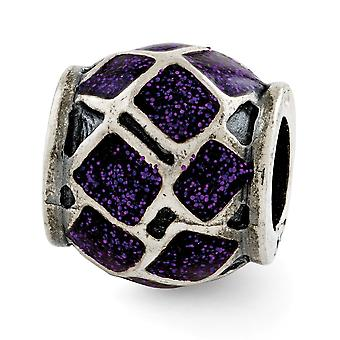 925 Sterling Silver Reflections Esmalte púrpura con brillos encanto colgante colgante collar regalos de joyería para las mujeres