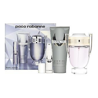 Invictus door Paco Rabanne voor mannen 3 delige set bevat: 3,4 oz Eau de Toilette Spray + 3,4 oz douchegel + 0,33 oz Eau de toilette reizen spray
