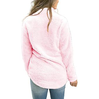 Alelly Women's Zipper Sherpa Pullover Soft Fuzzy Fleece, Pink, Size Small
