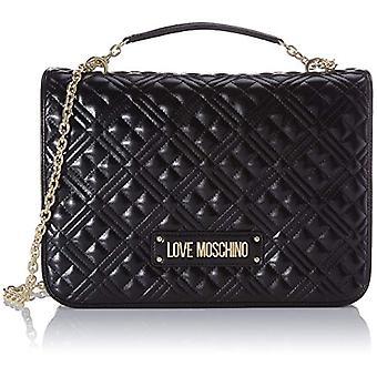 الحب موسكينو Jc4003pp1a حقيبة كروسباغ المرأة السوداء (أسود) 13x25x34 سم (W x H x L)