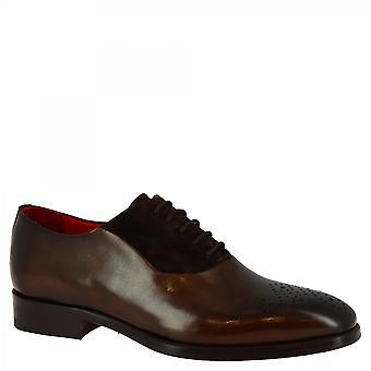 Men's scarpe oxford fatte a mano in vitello marrone scuro e pelle scamosciata