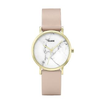 Cluse Watches Cl40101 La Roche Petite White Marble, Gold & Pink Leather Ladies Watch