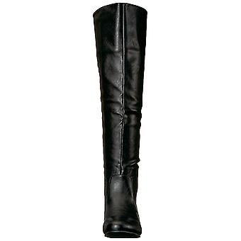 Brinley Co Womens angel Leather Almond Toe Knee High Fashion Boots