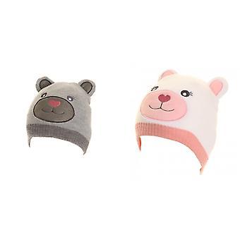 子供女の子動物テディベア デザイン ビーニー帽子の耳を持つ