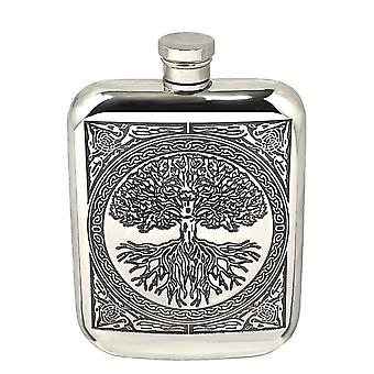 Celtic Tree of Life Pewter Purse Flask - 6oz