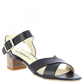 Leonardo Shoes Women's handmade low heel sandals black leather crossed bands