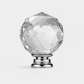 Crystal Door Knob - Clair / Argent - Faceted - 50mm