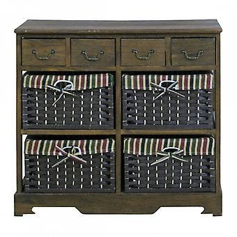 REBECCA Furniture Cabinet Drawer 8 drawers wood Brown wicker Room bathroom Entrance