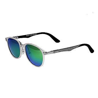 Razza della balena in alluminio e fibra di carbonio Polarized Occhiali da sole - argento/blu