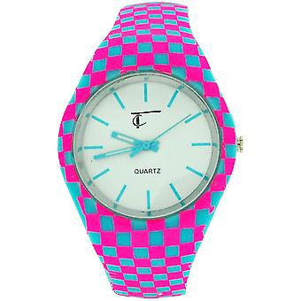 Time Collection White Quartz Dial, Pink & Blue Checked Rubber Strap Watch TC56B