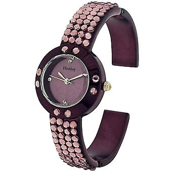 Henley Glamour Ladies Bling Crystal Purple Faceted Glass Watch H07128.7