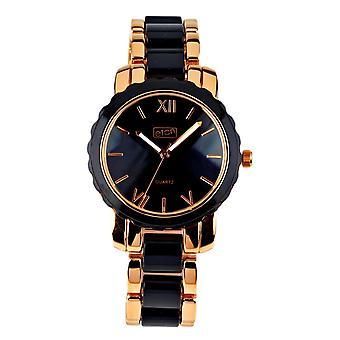 Eton Womens Fashion Watch, Black Plastic Link / Rose Gold Tone Bracelet-3176J-BK