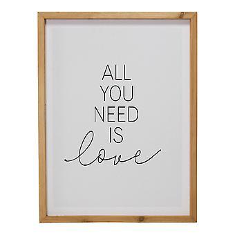 """""""כל מה שאתה צריך הוא אהבה & quot; אמנות קיר ממוסגרת"""