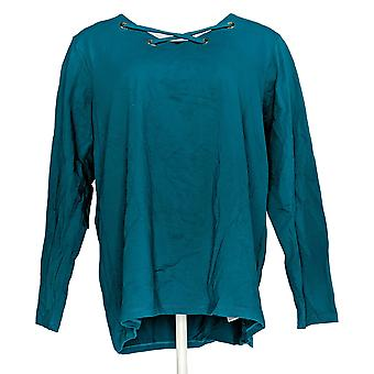 Bob Mackie Women's V-Neck Laced Front Grommet Knit Top Blue A342620