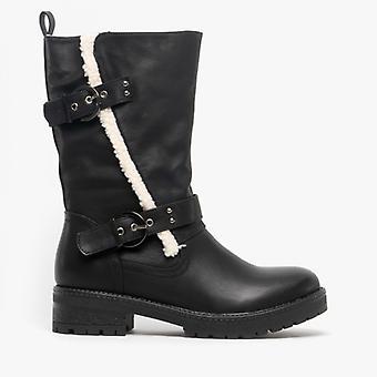 Heavenly Feet Bonnie Ladies Mid Calf Boots Black