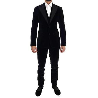 Dolce & Gabbana Blue Velvet Stretch Slim kétgombos öltöny - KOS1098352