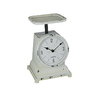 White Enamelware Decorative Vintage Weight Scale Table Clock