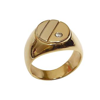 Christian white and yellow gold cachet ring