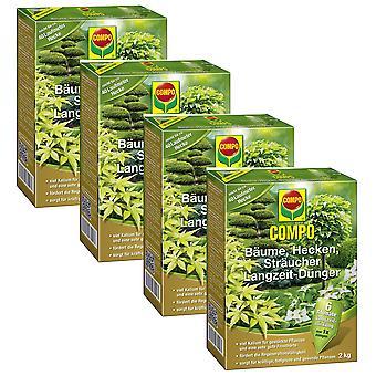 Sparset: 4 x COMPO puita, pensasaita, pensaat pitkän aikavälin lannoite, 2 kg