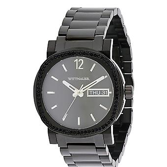 Wittnauer WN3050 Mens Male Black Stainless Steel 42MM Quartz Analog Watch