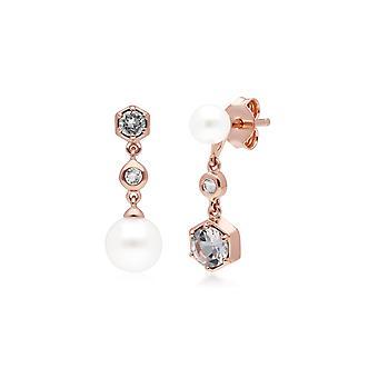 Moderne Perle, weiße Topas nicht übereinstimmende Ohrringe in Rose vergoldet Sterling Silber 270E030309925