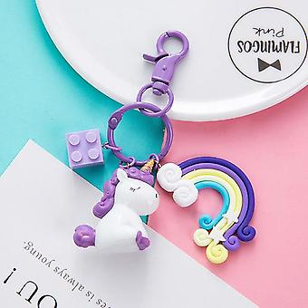 Unicorn Key Pendant Keyring Plush - Peluche, Licorne, Anchor, Rainbow