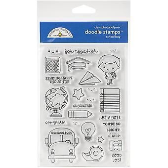 Doodlebug Clear Doodle Stamps - School Boy, School Days