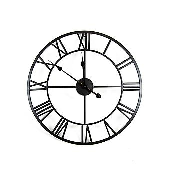 Charles Bentley Indoor Wall Round Minimalist Skeleton Clock with Roman Numerals Matte Black Small 60cm