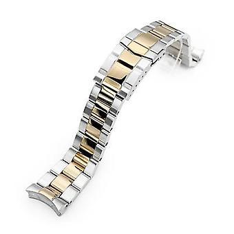 Pulseira de relógio strapcode 22mm super 3d banda de relógio de ostra para seiko mergulhador skx007/009/011, dois tons ip ouro submarineista fesp